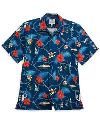 Tommy Bahama Captain Mickey Mouse And Crew Silk Shirt - Blue