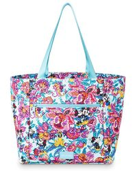 Vera Bradley Mickey Mouse And Friends Colorful Garden Drawstring Tote - Blue