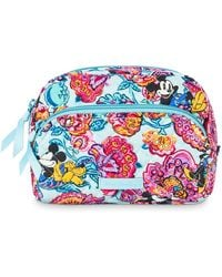 Vera Bradley Mickey Mouse And Friends Colorful Garden Cosmetic Bag - Blue