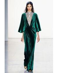 Tadashi Shoji Cape Sleeve Velvet Gown - Black