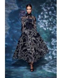 Marchesa Long Sleeve Collared Neck Blouse And Midi Skirt - Multicolor