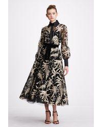 Marchesa 2-piece Long Sleeve Blouse And Midi Skirt - Black