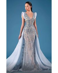 Mnm Couture Structured Sleeve Embellished Gown With Train - Blue