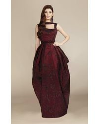 Mnm Couture Burgundy Sleeveless Puffed Sequin Evening Gown - Multicolor