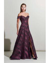 Rene Ruiz Off Shoulder Fuchsia A-line Evening Gown - Purple