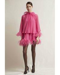 Stefano De Lellis Martina Feathered Georgette Dress - Pink