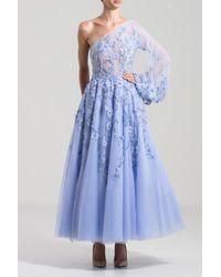 Saiid Kobeisy Tulle One Shoulder Midi Dress - Blue