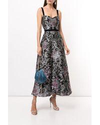 Marchesa notte Jeweled Damask Fils Coupé Midi Dress - Black