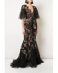 Marchesa Re-embroidered Floral Tulle Gown - Black