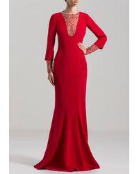 Saiid Kobeisy Long Sleeve Mermaid-cut Gown - Red
