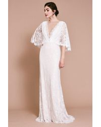 Tadashi Shoji Mina Lace Scallop Gown - White