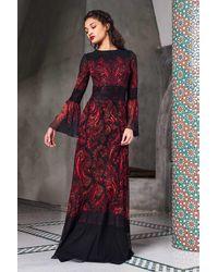 Tadashi Shoji Long Bell Sleeve Evening Gown - Red
