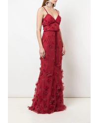 Marchesa notte Sleeveless Metallic Embroidered Fit And Flare Gown With 3d Flowers And Lace Trim