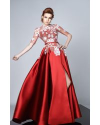 Edward Arsouni - Divina By Red Mikado Evening Gown - Lyst