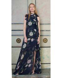 ML Monique Lhuillier Sleeveless Floral Print Gown - Blue