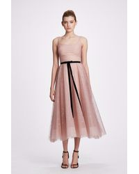 Marchesa notte Glitter Tulle Tea Length Gown - Pink
