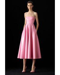 Alex Perry Powell-strapless Vinyl Midi Dress - Pink