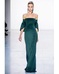 Badgley Mischka Off Shoulder Evening Gown - Green