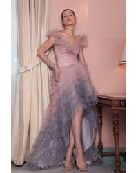 Gemy Maalouf Off The Shoulder High Low Ombre Gown - Pink