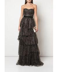 Marchesa notte Strapless Tiered Velvet-trimmed Glittered Tulle Gown - Black