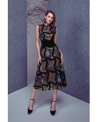 Gemy Maalouf Sleeveless Floral Print Midi Dress - Multicolor