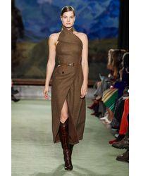 Brandon Maxwell Halter Neck Slit Midi Dress - Brown