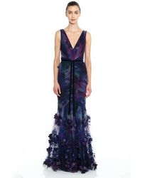 Marchesa notte Sleeveless Fit And Flare Gown - Blue