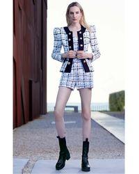Elie Saab Tweed Jacket, Crop Top And Shorts - Multicolor