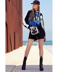 Elie Saab Bomber Jacket, T-shirt And Shorts - Blue