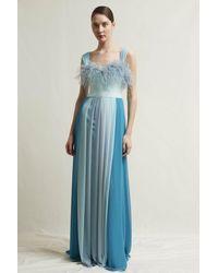 Stefano De Lellis Gioia Sleeveless Georgette Gown - Blue