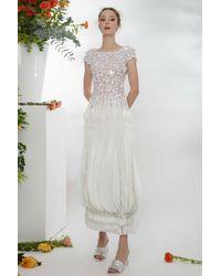 Gemy Maalouf Laser-cut Chiffon Midi Dress - White