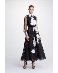 Marchesa Floral 2-piece Blouse And Tea Length Skirt - Multicolor