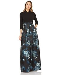 Kay Unger - New York Sleeve Floral Jacquard Evening Gown - Lyst