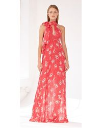 ML Monique Lhuillier Sleeveless Floral Gown - Red