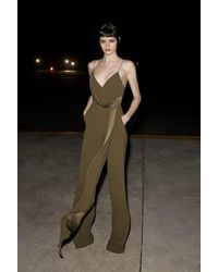 Alex Perry Harlow Drape-detailed Crepe Jumpsuit - Green