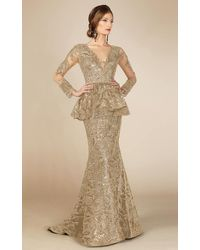 Mnm Couture Long Sleeve Peplum Champagne Evening Gown - Multicolor