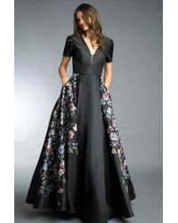 Basix Black Label - Black Short Sleeve Hand Painted Floral Ball Gown - Lyst