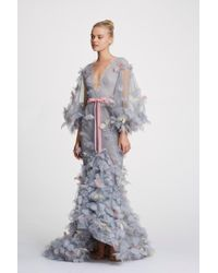 Marchesa Couture Deep V Neck Tulle Gown - Gray