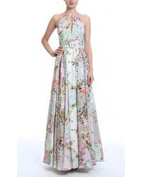 Badgley Mischka - Floral Halter Neck Gown - Lyst