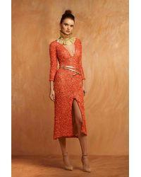 Gemy Maalouf 3/4 Sleeve Coral Dress - Orange
