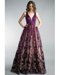 Basix Black Label - Purple Sleeveless Floral A-line Evening Gown - Lyst