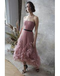 Marchesa notte Strapless Textured Tulle Hi-lo Midi Dress - Pink