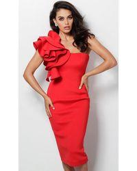 Jovani 63550 Ruffle One Shoulder Knee Length Sheath Dress - Red