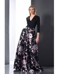 THEIA 3/4 Sleeve Floral Evening Gown - Blue