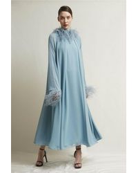 Stefano De Lellis Ginevra Feathered Georgette Gown - Blue