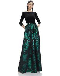 THEIA - Velvet & Emerald Brocade Ball Gown - Lyst