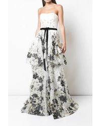 Marchesa notte - Strapless Floral Tiered Gown - Lyst