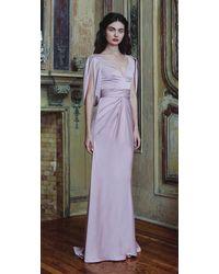 THEIA V-neck Satin Gown - Purple