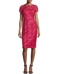 David Meister Lace Short Sleeve Cocktail Dress - Red
