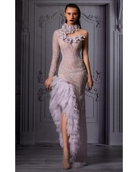 Mnm Couture Long Sleeve Fitted Slit Ruffled Gown - Multicolor